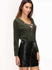 Army Green Deep V Neck Eyelet Lace Up T-shirt