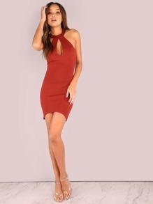 Peakaboo Halter Curved Bodycon Mini Dress RUST