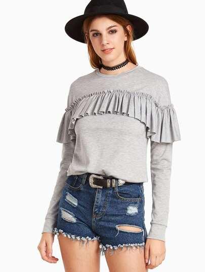 Heather Grey Ruffle Trim Long Sleeve Sweatshirt