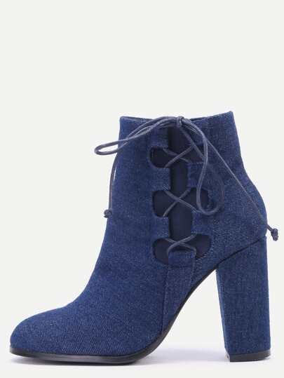Denim color Faux Suede Lace Up Side High Heel Boots