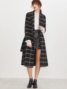 Black Grid Shawl Collar Longline Wrap Coat