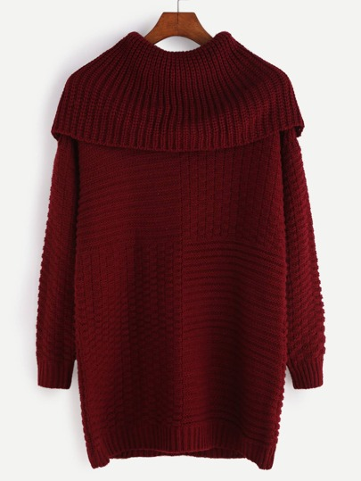 Burgundy Mixed Knit Bardot Neck Sweater