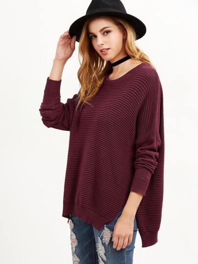 Burgundy Ribbed Knit Drop Shoulder Slit Oversized Sweater