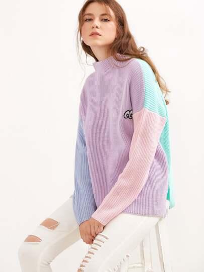 Jersey con cuello alto y bordado de color combinado