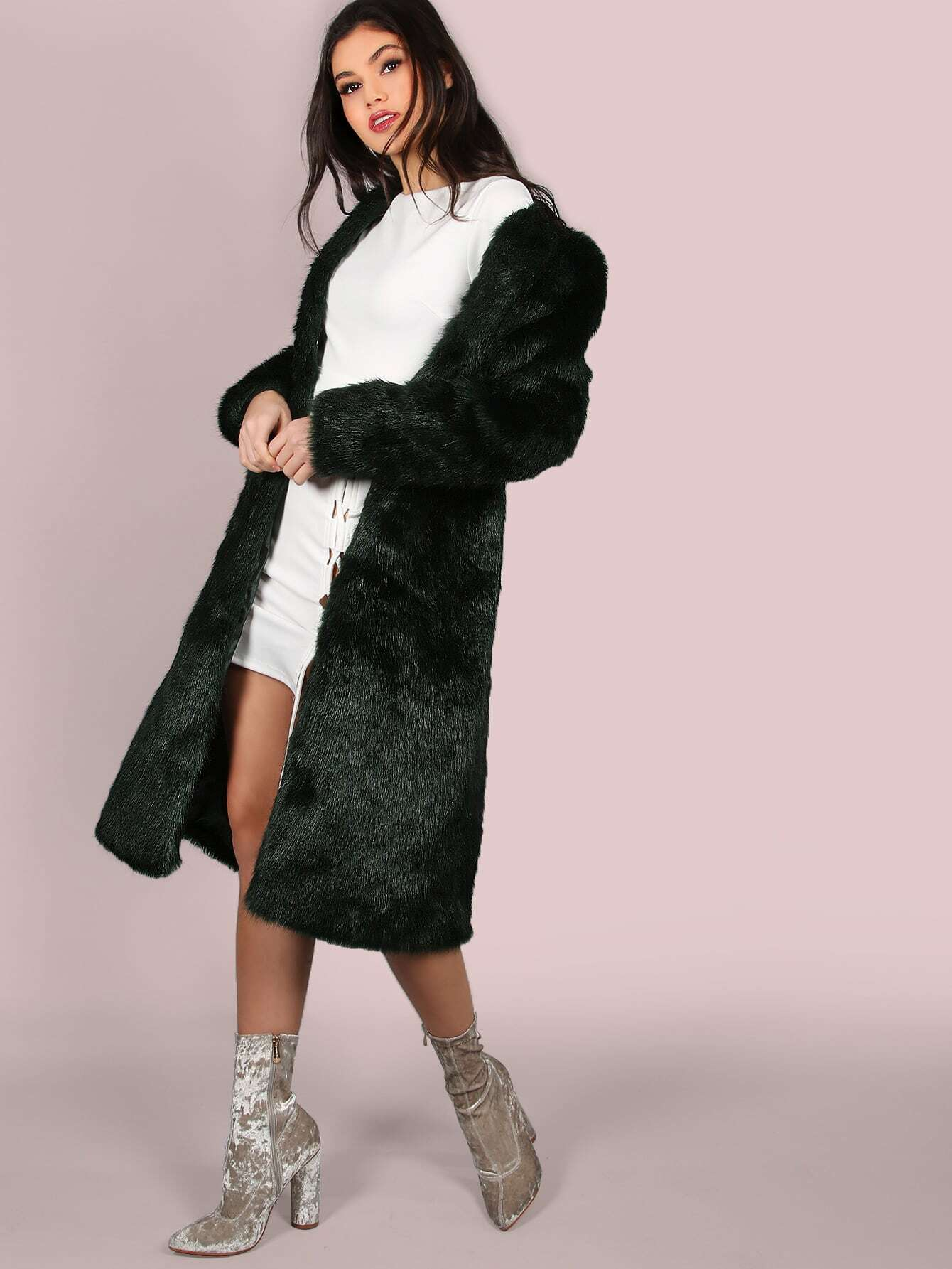 Coats Green Faux Fur Collarless Elegant Knee Length Spring Plain Fabric has no stretch Long Sleeve Outerwear.