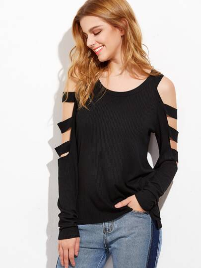 Open Shoulder Ladder Cutout Sleeve Top