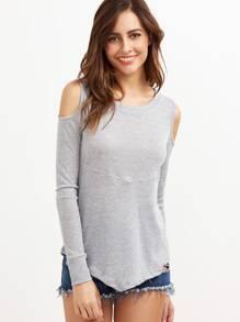 Heather Grey Ribbed Knit Cold Shoulder T-shirt