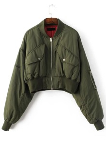 Army Green Letter Embroidery Dolman Sleeve Crop Jacket