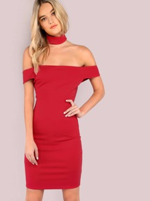Off the Shoulder Bardot Choker Mini Bodycon Dress RED