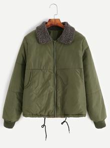 Army Green Sherpa Collar Drawstring Hem Zipper Jacket