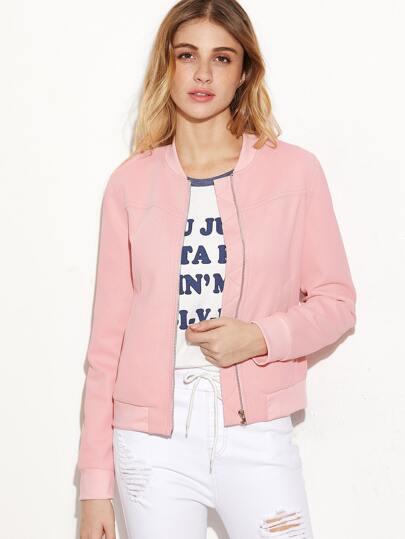 Pink Zip Up Waffle Knit Bomber Jacket