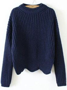 Navy Crew Neck Scalloped Hem Sweater
