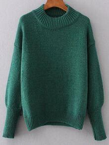 Green Crew Neck Drop Shoulder Seam Sweater