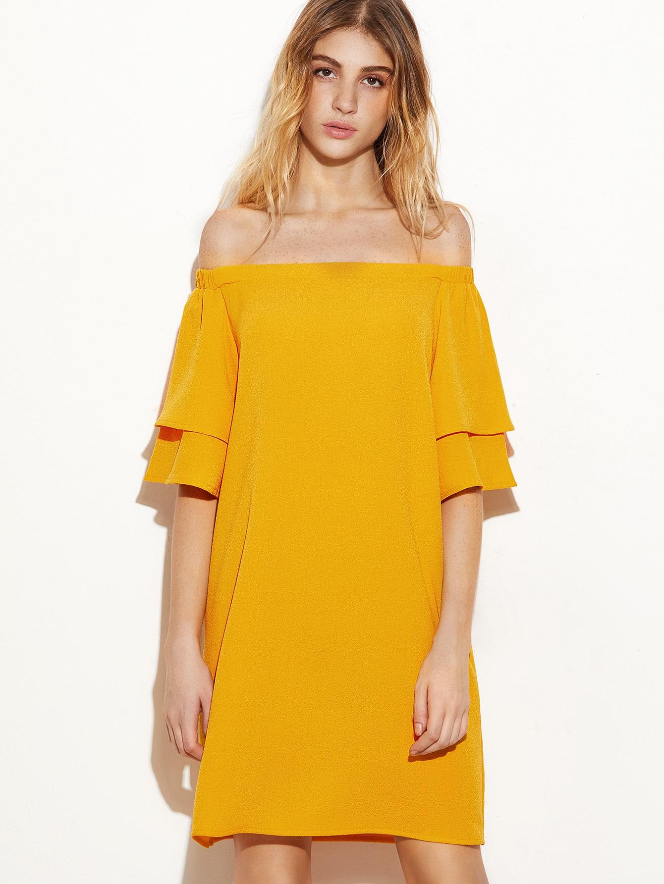 Фото Layered Sleeve Bardot Neckline Dress. Купить с доставкой