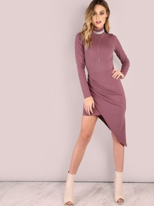 Sleeved Mock Asymmetrical Dress LAVENDER