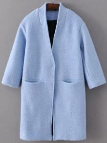 Blue Hidden Button Pocket Wool Blend Coat