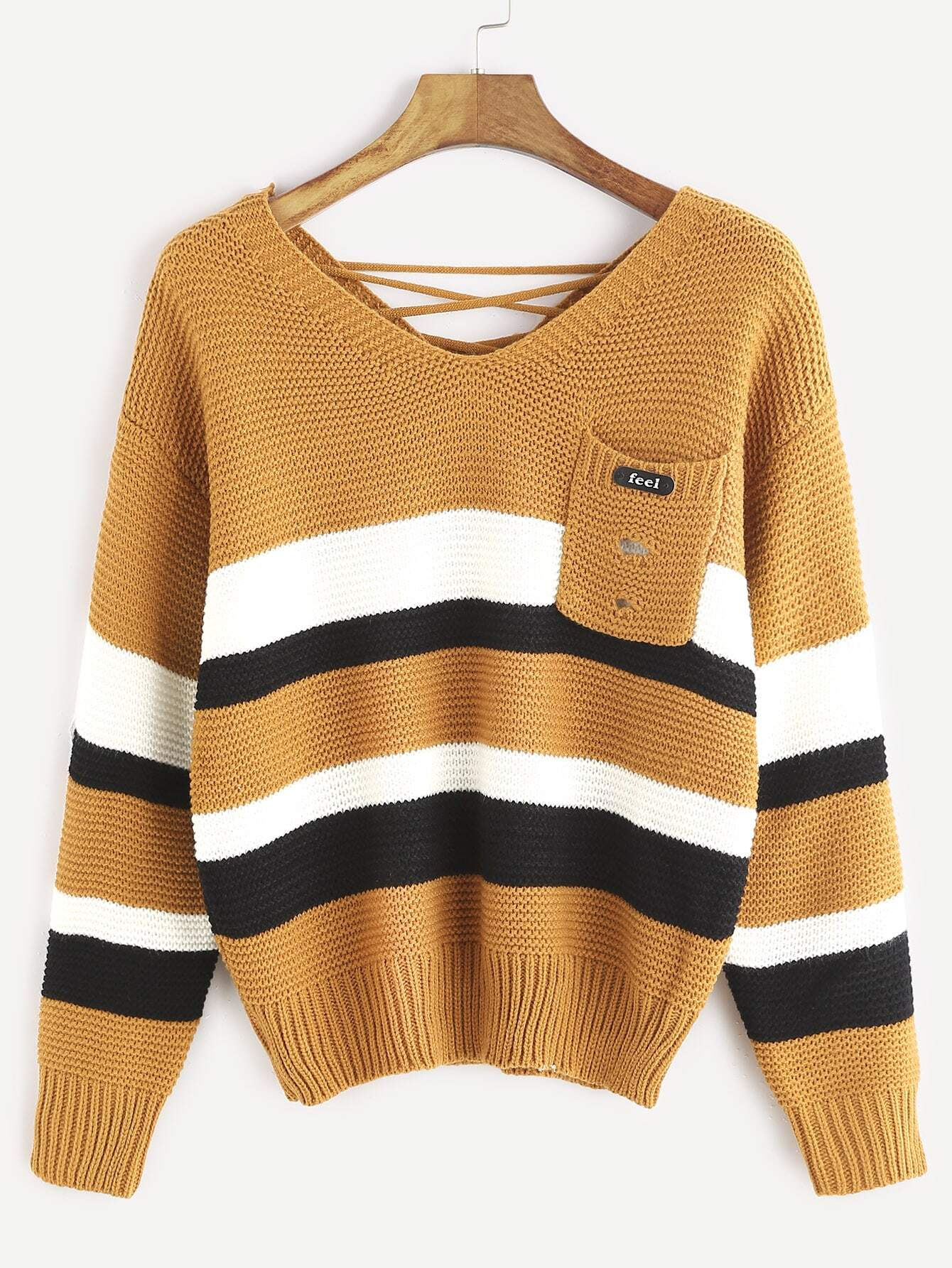 Khaki Double V Neck Lace Up Back Striped Sweater sweater161122004