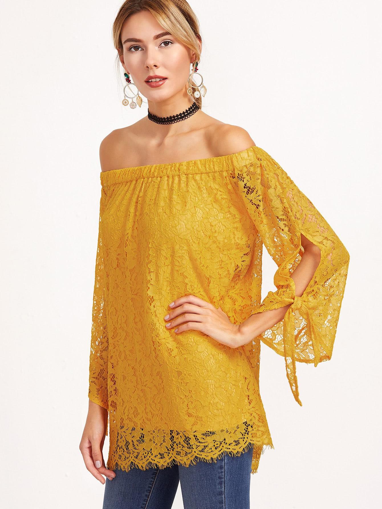 Yellow Off The Shoulder Tie Sleeve Floral Lace Top blouse161130718