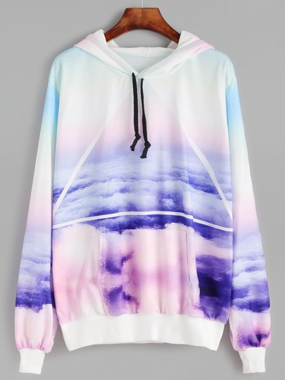 Cloud And Triangle Print Hooded Pocket Sweatshirt