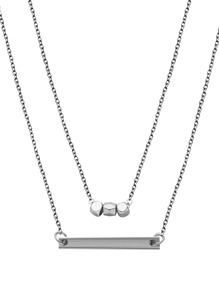 Silver Plated Geometric Horizontal Bar Pendant Necklace