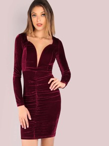 Sleeved Ruched Velvet Plunge Bodycon Dress WINE