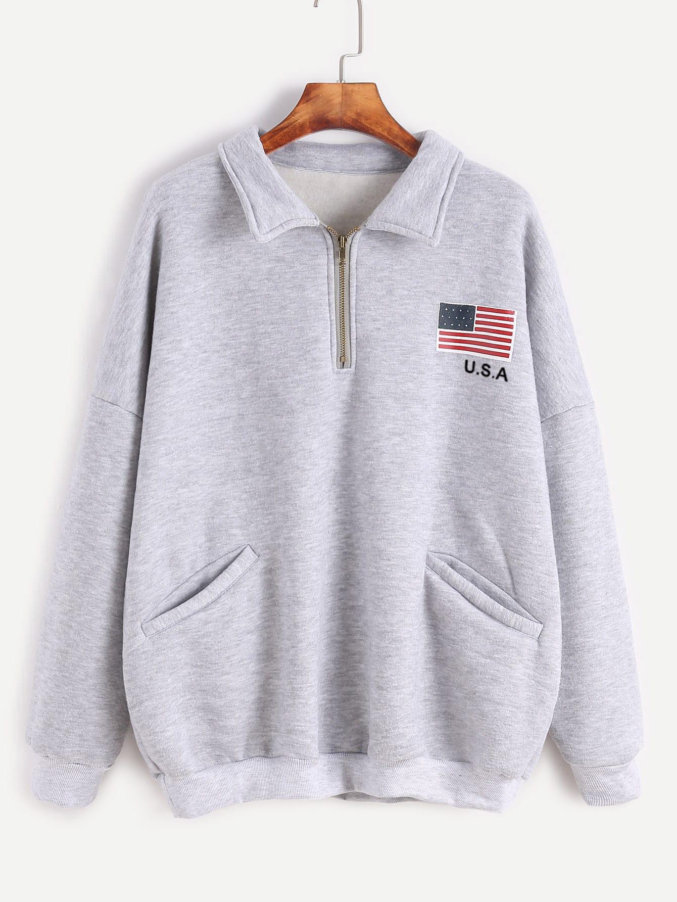 Grey American Flag Print Zip Detail Front Pocket Sweatshirt RSWE161111004
