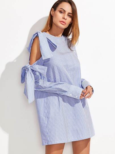 Striped Bow Tie Detailed Open Shoulder Dress