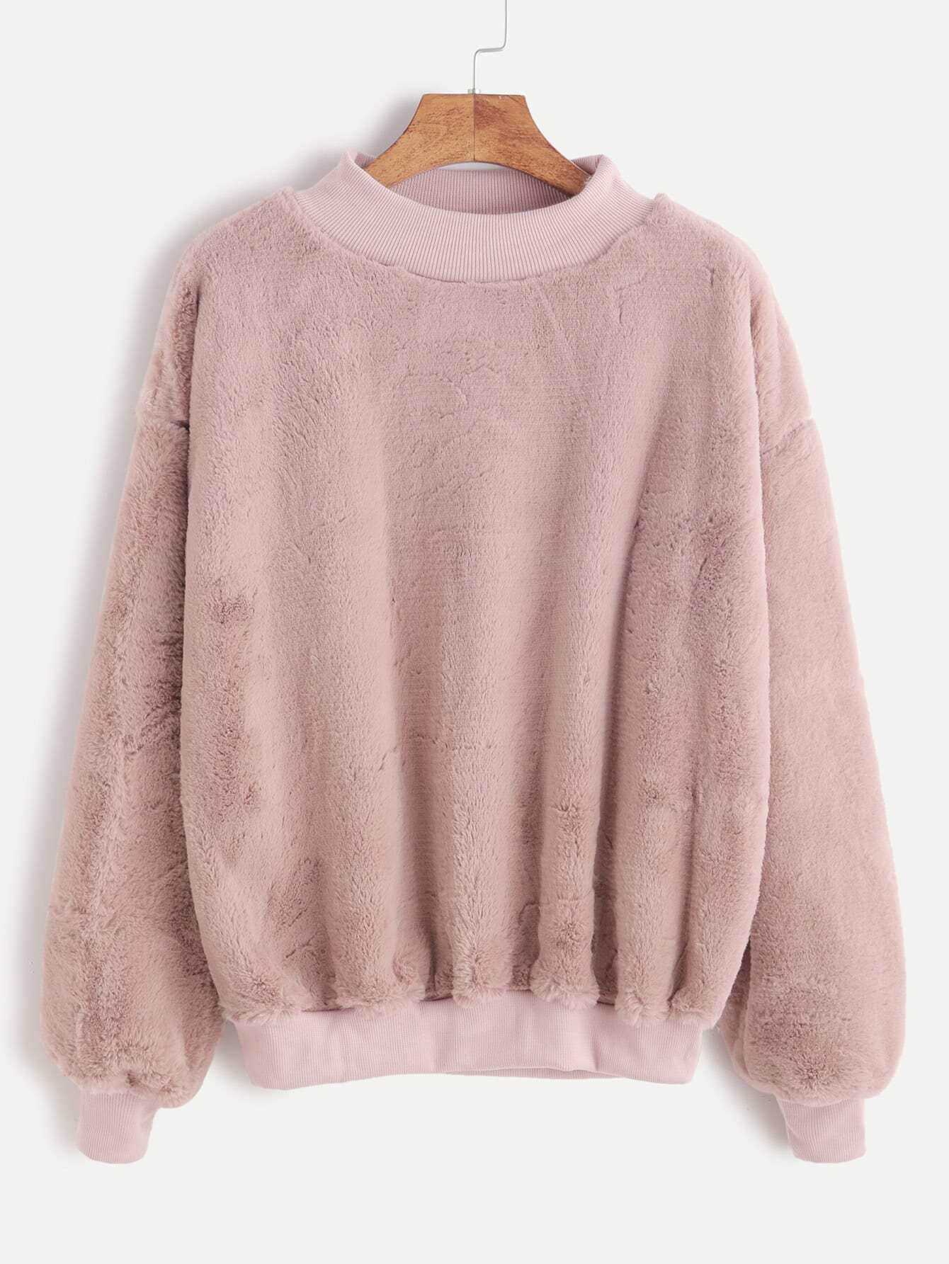 Contrast Ribbed Trim Drop Shoulder Fluffy Sweatshirt sweatshirt161104102