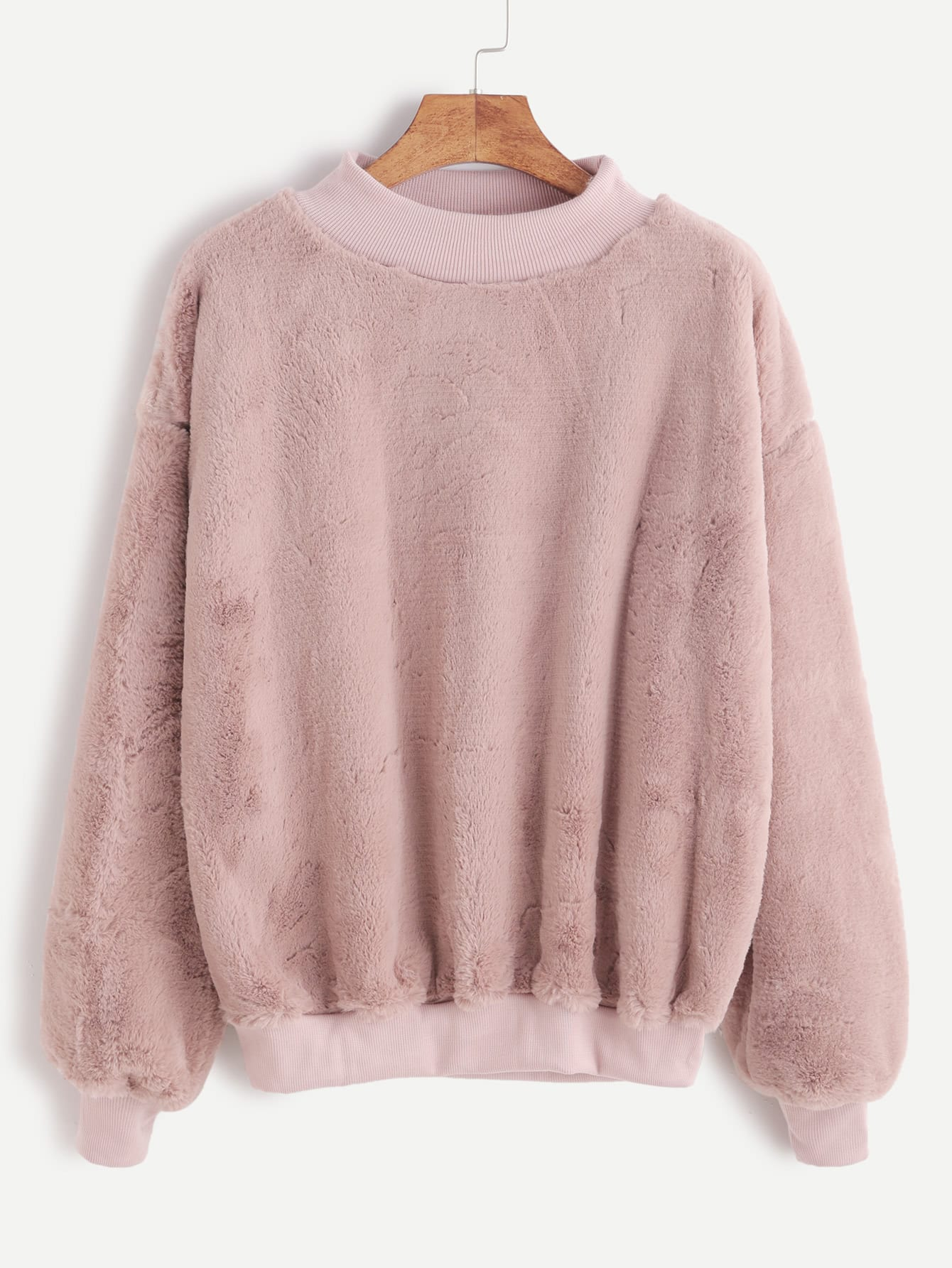 Contrast Ribbed Trim Drop Shoulder Fluffy Sweatshirt sweatshirt161104102