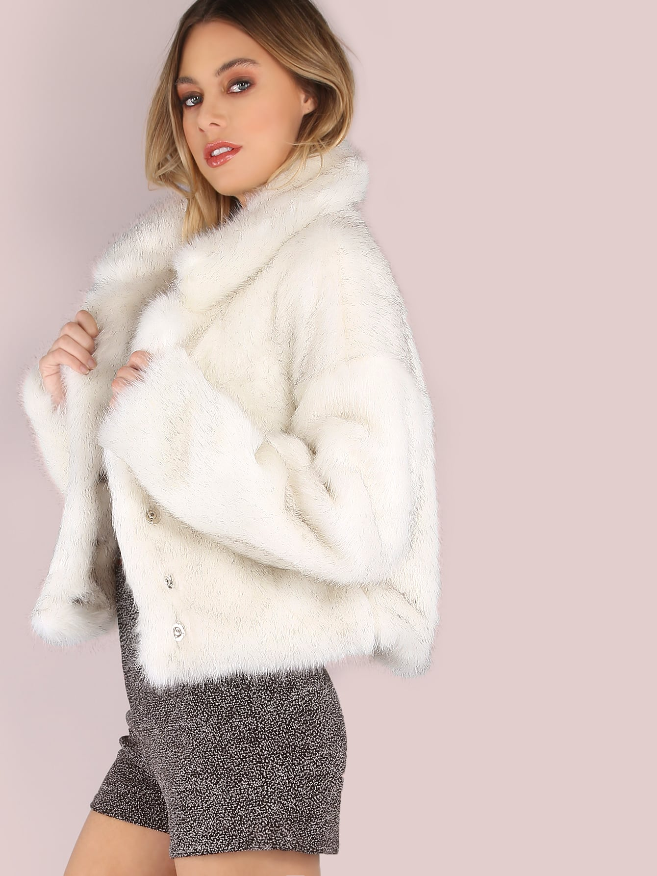 White Stand Collar Open Front Faux Fur Coat -SheIn(Sheinside)