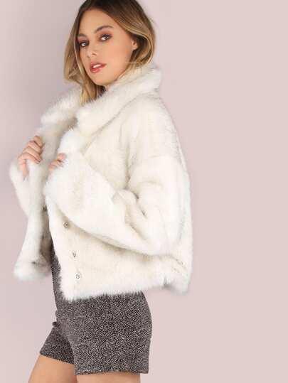 White Stand Collar Open Front Faux Fur Coat -SheIn(Sheinside)