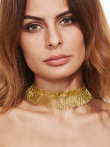 Gold Sequin Fringe Boho Choker Necklace