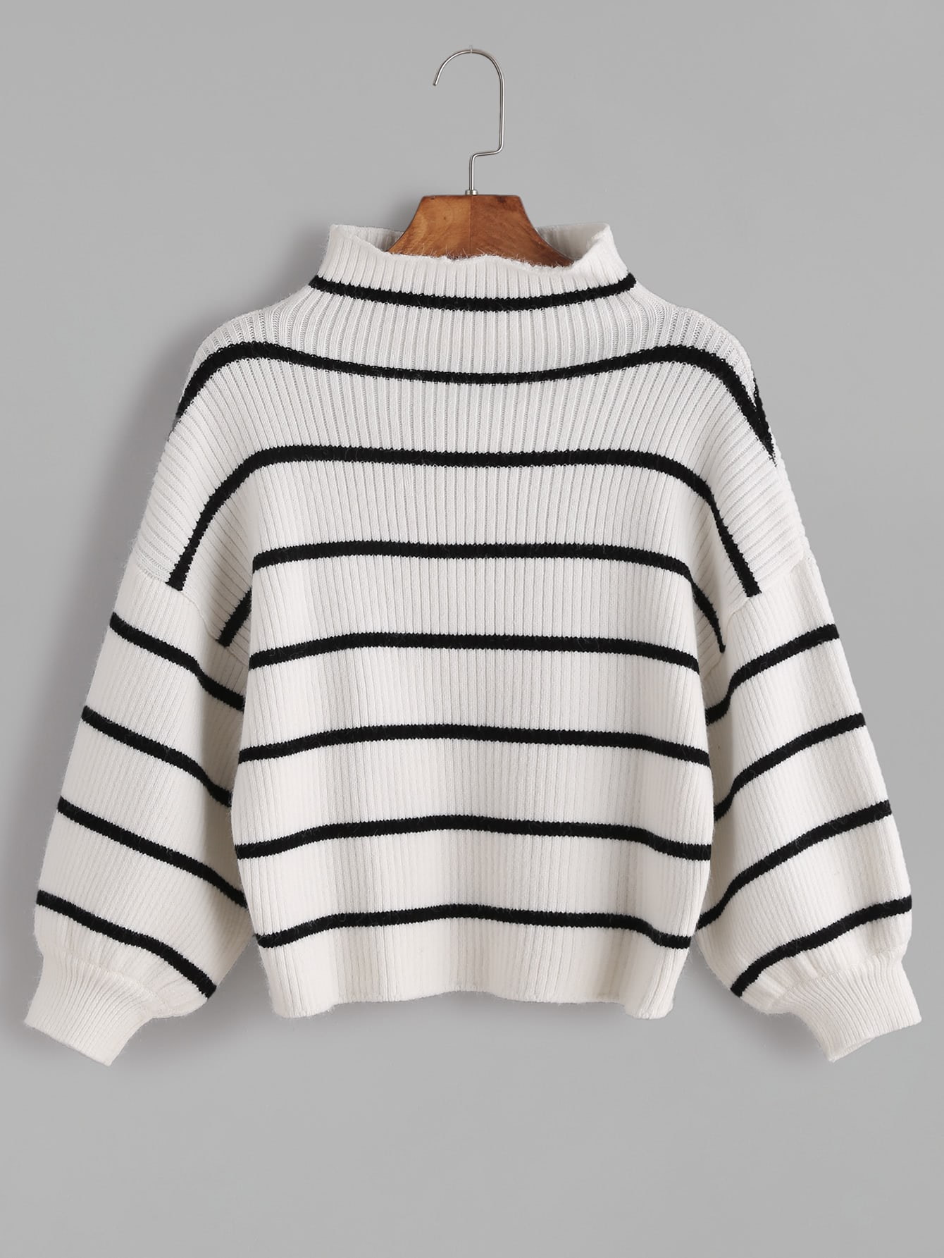 White Striped Ribbed Knit Funnel Neck Bishop Sleeve Sweater sweater161116405
