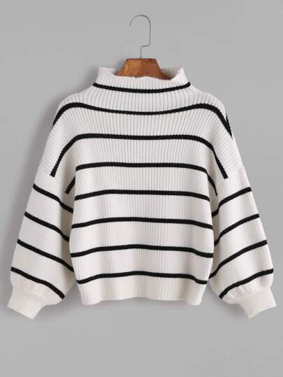 White Striped Ribbed Knit Funnel Neck Bishop Sleeve Sweater