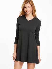 Black V Neck Tee Dress