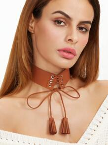 Brown Lace Up Tassel Wide Choker Necklace