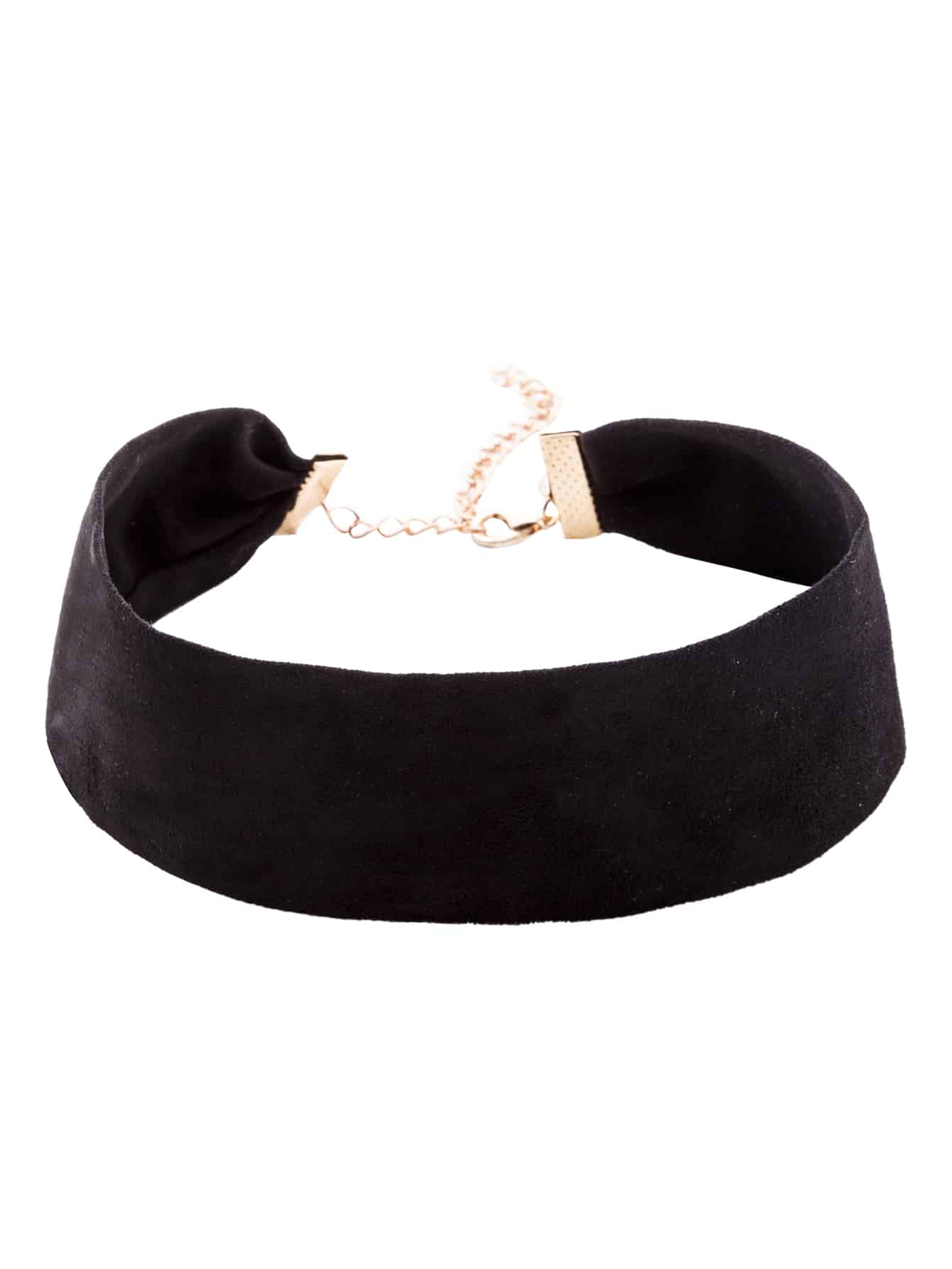 Black Suede Simple Wide Choker Necklace simple black cloth choker necklace for women