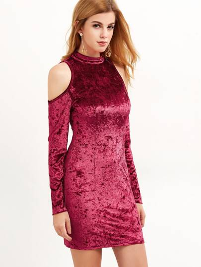 Burgundy Cold Shoulder Crushed Velvet Bodycon Dress
