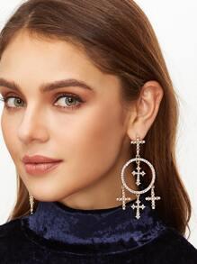 Gold Cross Rhinestone Encrusted Statement Drop Earrings