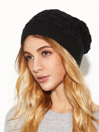Black Knit Textured Beanie Hat For Women