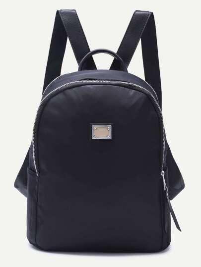 Metallic Embellished Plain Nylon Backpack