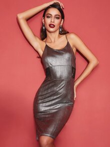 Metallic Silver Contrast Lace Split Side Cami Dress
