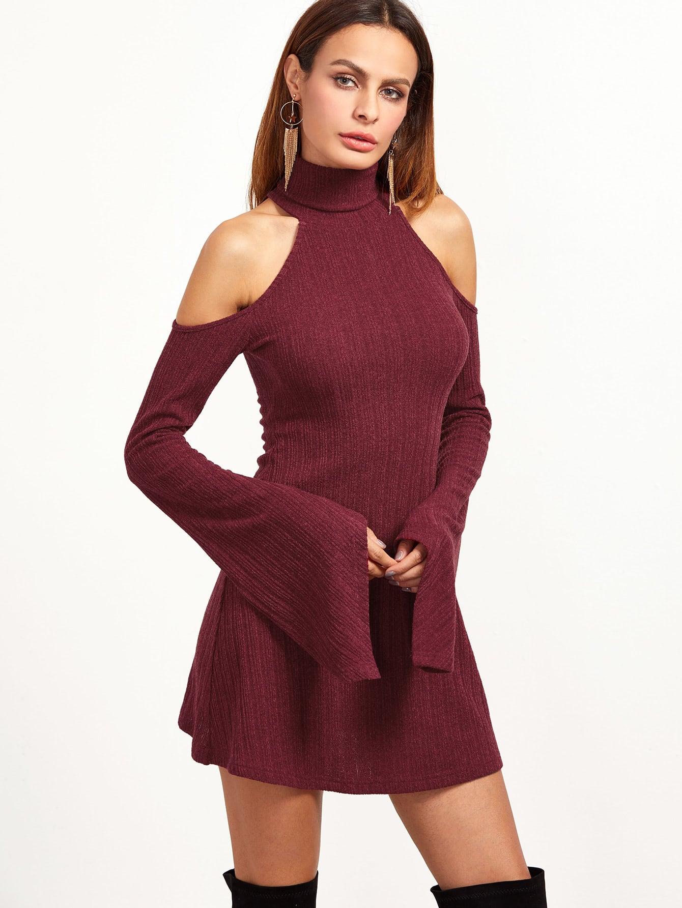 Burgundy Ribbed Knit Cold Shoulder Bell Sleeve Dress dress161122713
