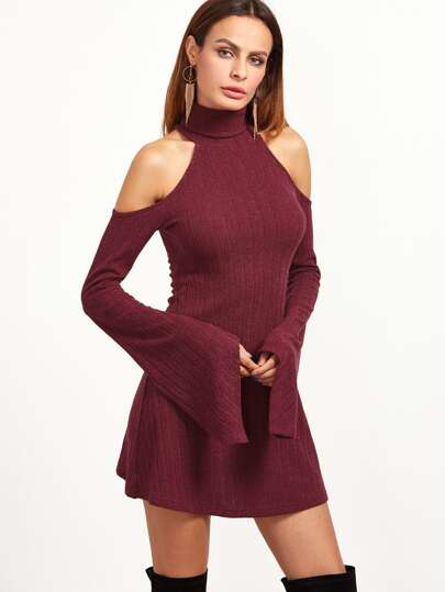 Burgundy Ribbed Knit Cold Shoulder Bell Sleeve Dress