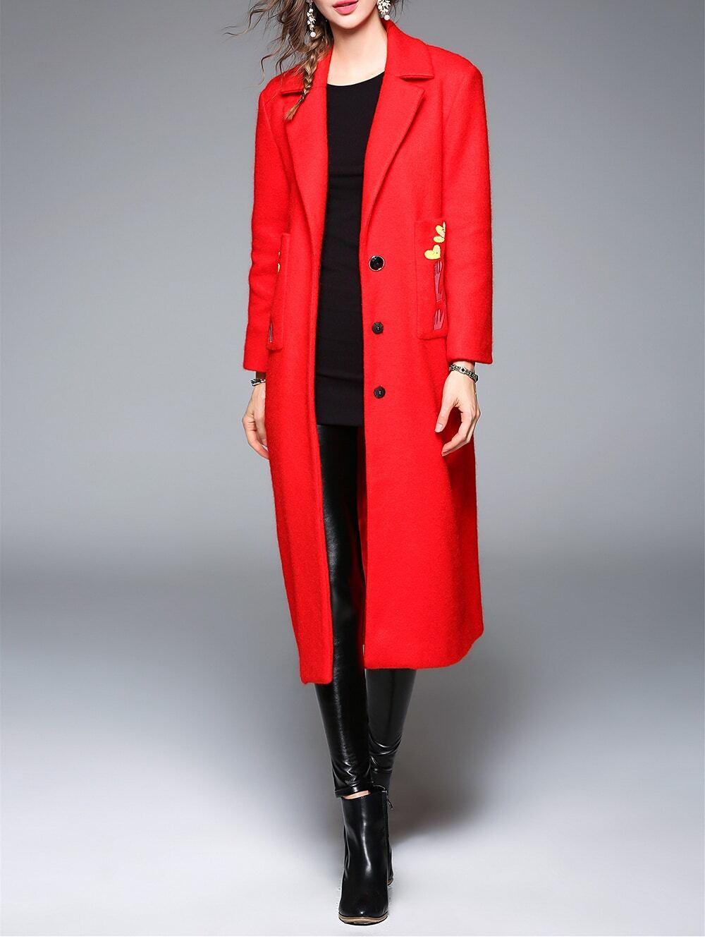 Купить Красное длинное пальто с вышивкой с отворотом, null, SheIn
