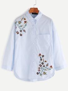 Blue Drop Shoulder Flower Embroidered High Low Shirt