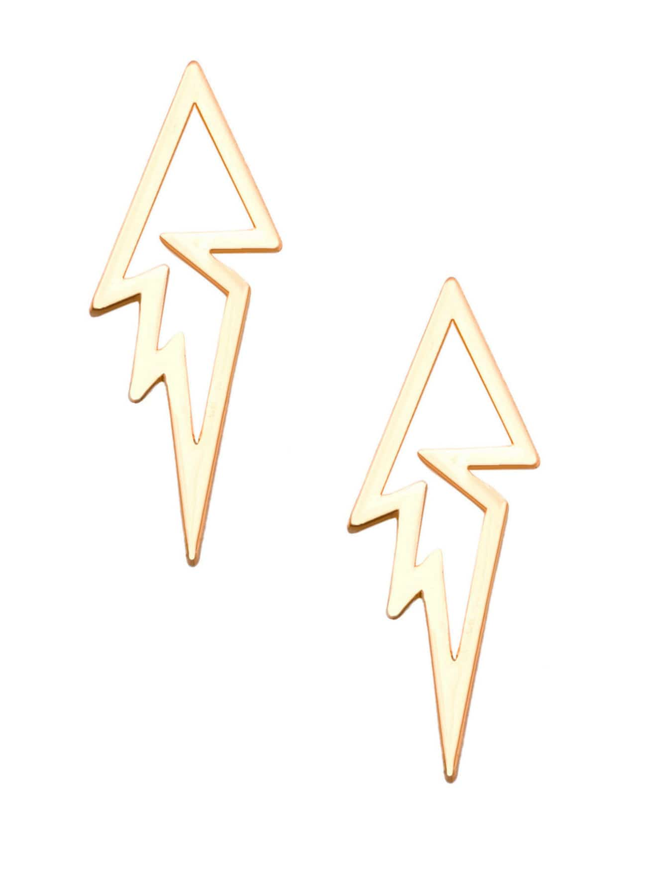 Gold Plated Lightning Bolt Hollow Out Stud Earrings