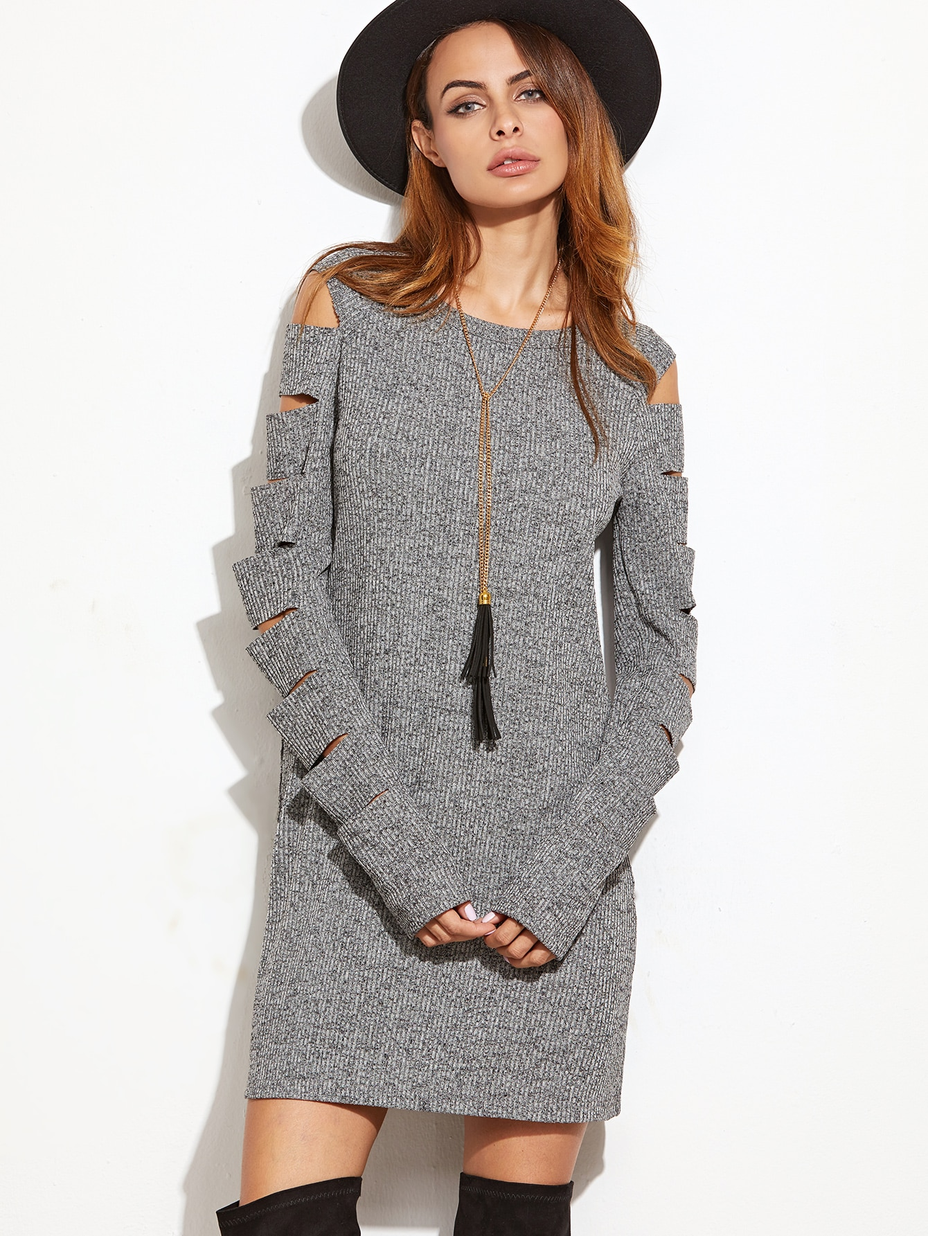 Grey Marled Ribbed Knit Ladder Cutout Sleeve Dress dress161110707