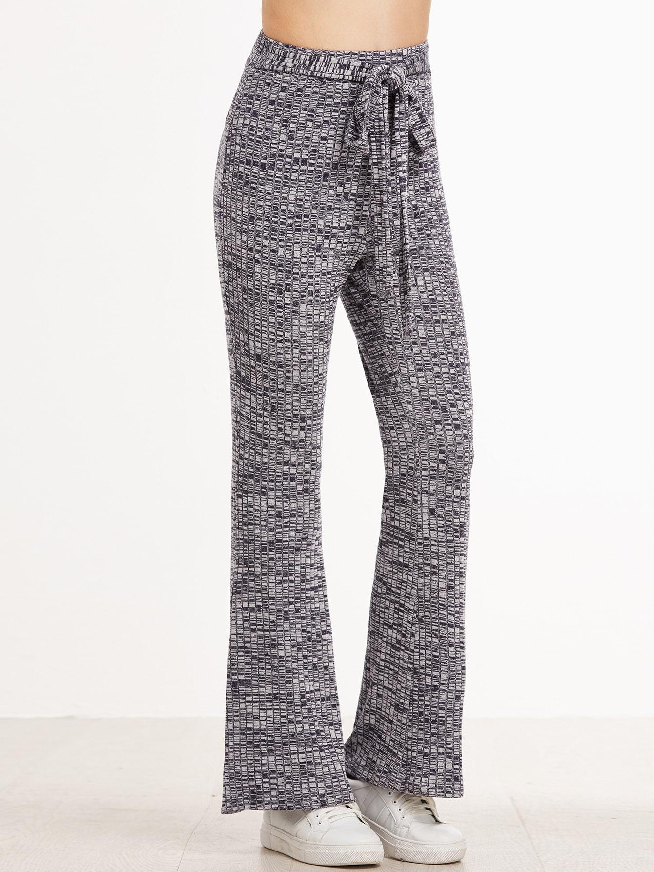 Grey Marled Ribbed Knit Belted Flared Pants pants161117701