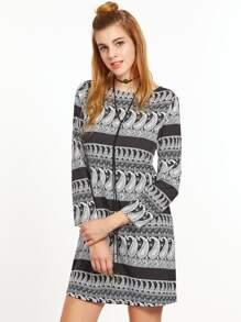 Black And White Paisley Print Tunic Dress